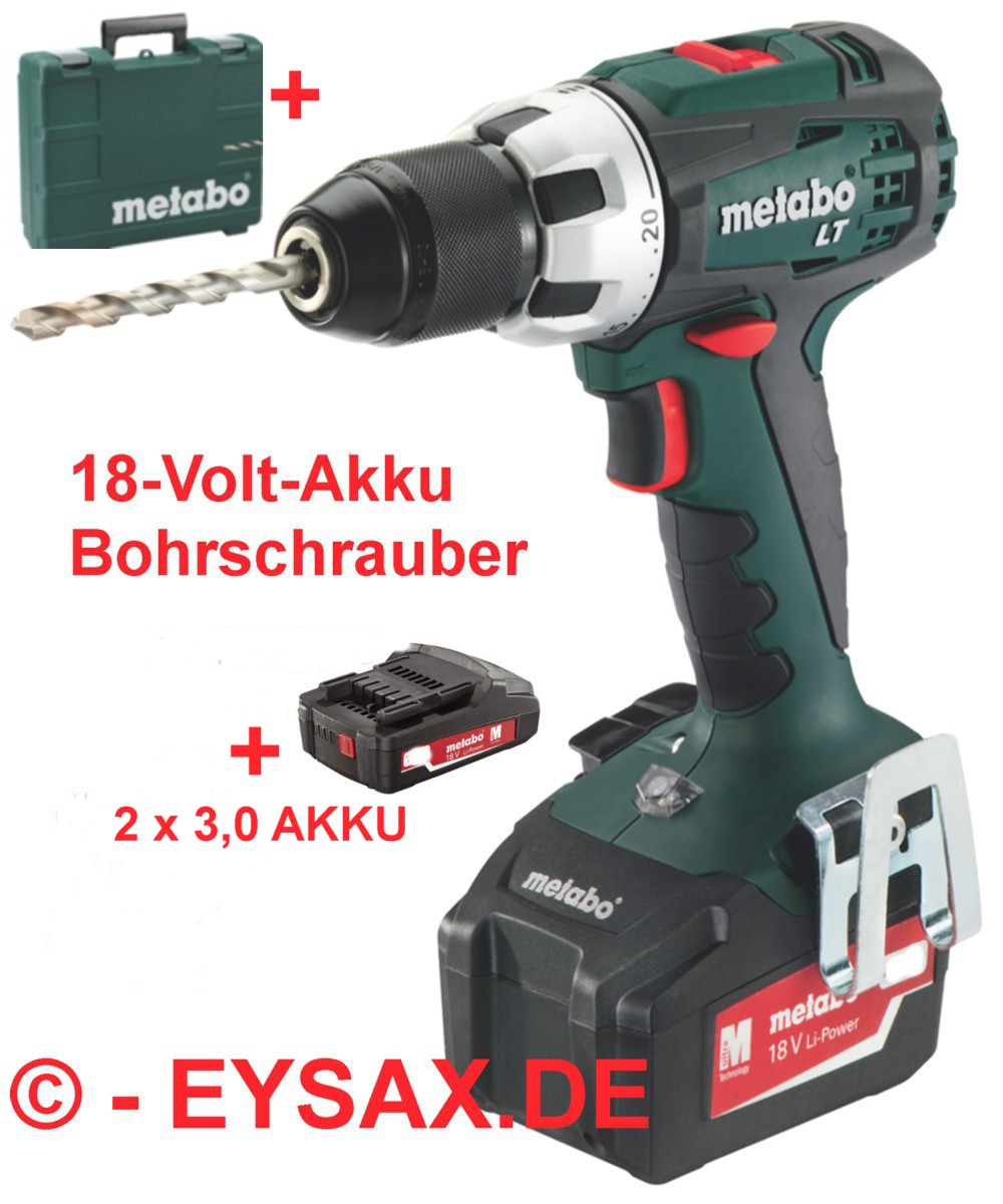 metabo akku bohrschrauber bs 18 lt 2 x akkupack mit 3 0ah ladeger t koffer ebay. Black Bedroom Furniture Sets. Home Design Ideas