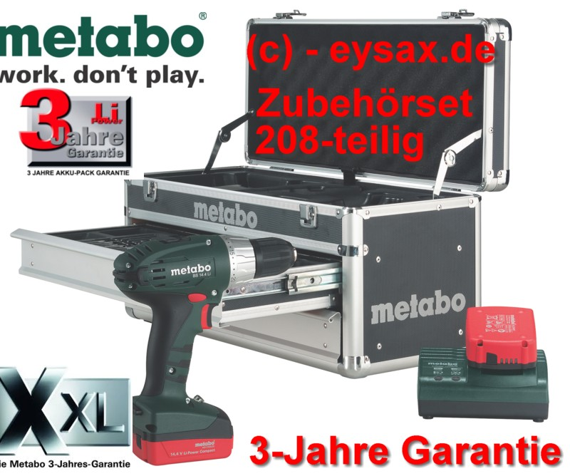 metabo akkuschrauber bs 14 4 li 208teilig mobile werkstatt alu koffer 2xakku ebay. Black Bedroom Furniture Sets. Home Design Ideas