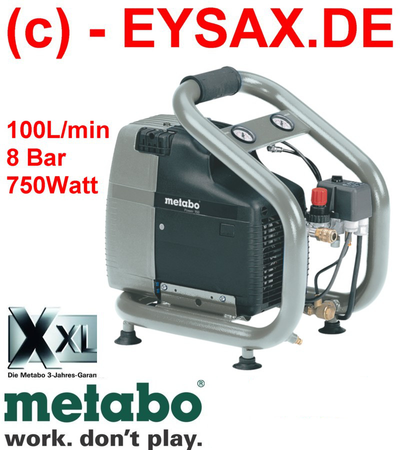 metabo druckluft kompressor power 150 100l min 8bar 750w ebay. Black Bedroom Furniture Sets. Home Design Ideas