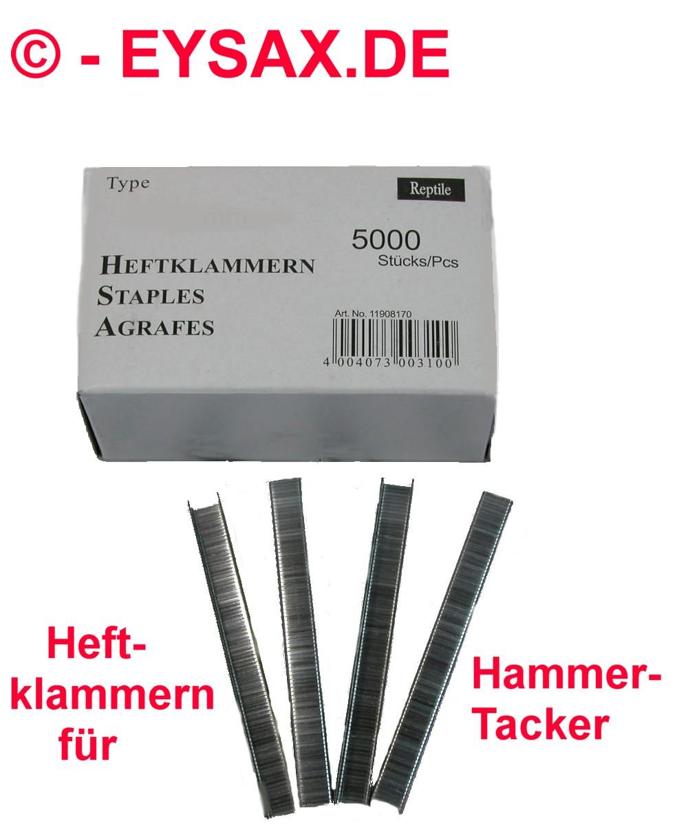 Flachdrahtklammer 11//10 5000er Pack Heftklammern Klammern für Tacker